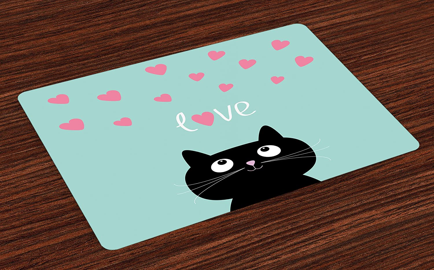 Lunarable Valentines Place Mats Set of 4, Kitty Heart Cat Companions Kids Children Illustration, Washable Fabric Placemats for Dining Table, Standard Size, Seafoam Black
