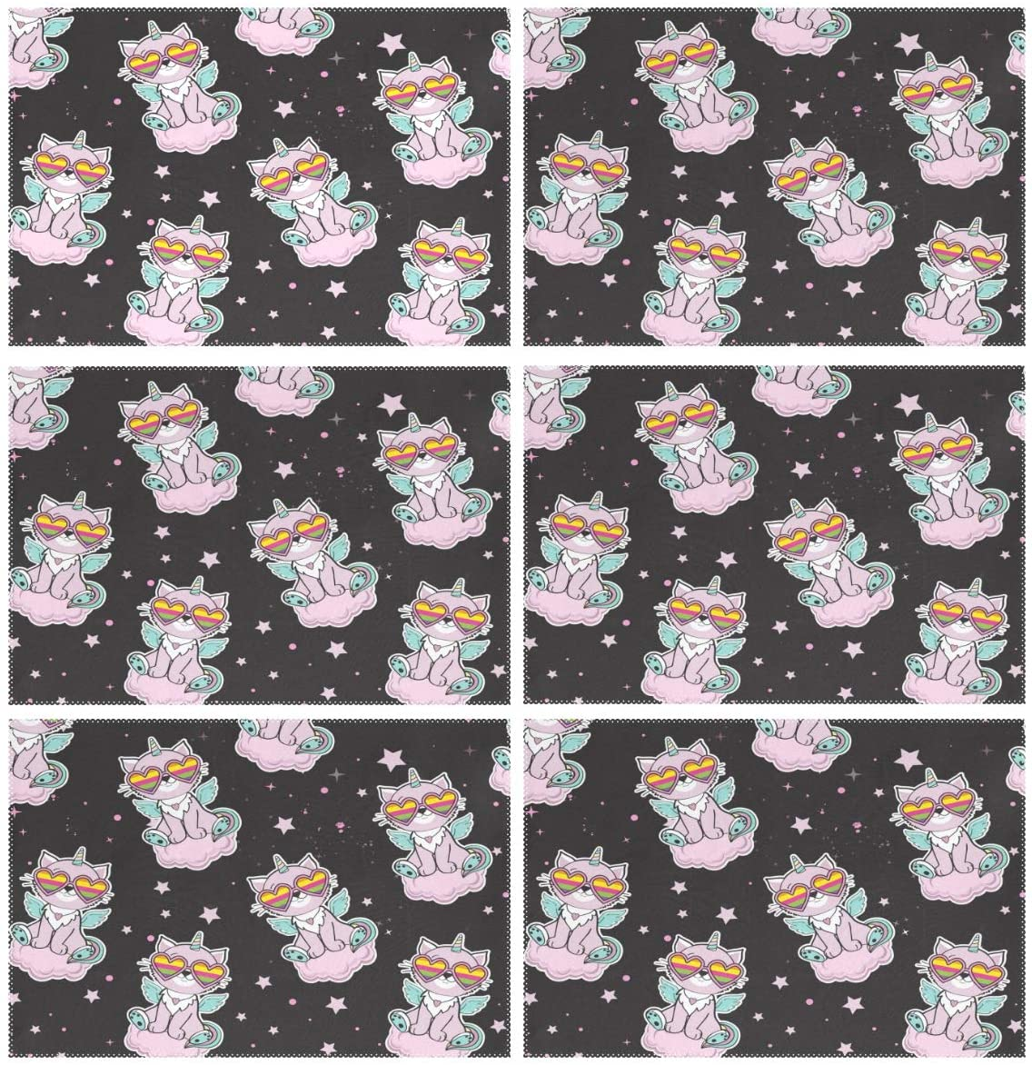 ALAZA Cat Unicorn Black Placemats Set of 6 for Kitchen Dinning Table Place Mat Heat Resistant Washable Polyester Plate Mat