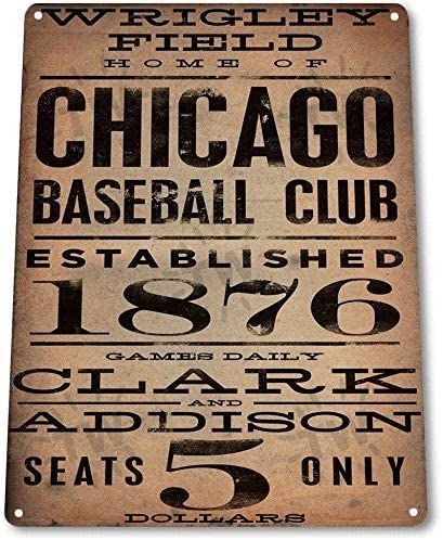 Anjoes 8 X 12 Novelty Funny Sign Chicago Baseball Club Vintage Metal Tin Sign Wall Sign Plaque Poster for Home Bathroom and Cafe Bar Pub, Wall Decor Car Vehicle License Plate Souvenir