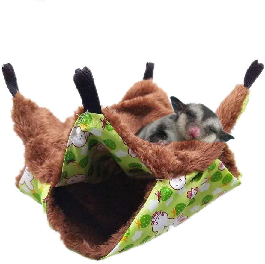 XZKING Small Pet Hammock Nest-Hamster Hammock,Three-Layer Thermal Hammock,Hanging Squirrel Sleeping Bag