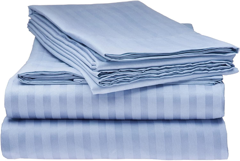 Elaine Karen Deluxe 8PC Sheet Set – 1800 Hotel Luxury Double Brushed Microfiber Bed Sheet - Deep Pocket – Fitted Sheet, Flat Sheet, Pillow Cases – King - Light Blue