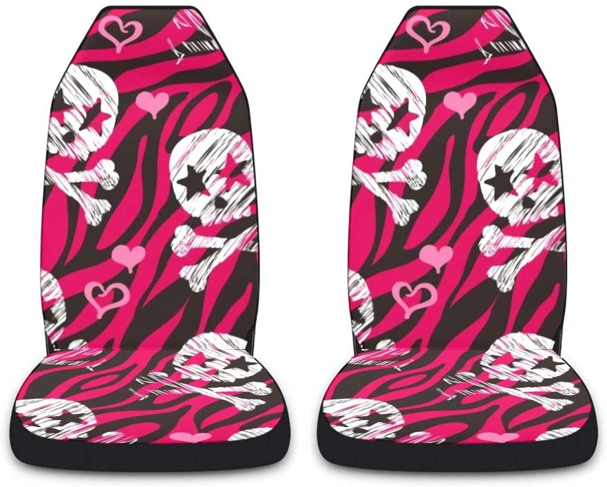 CUXWEOT Heart Zebra Skull Car Seat Covers for Front Set of 2 Vehicle Seat Protector Car Pet Mat Fit Most Car,Truck,SUV,Van