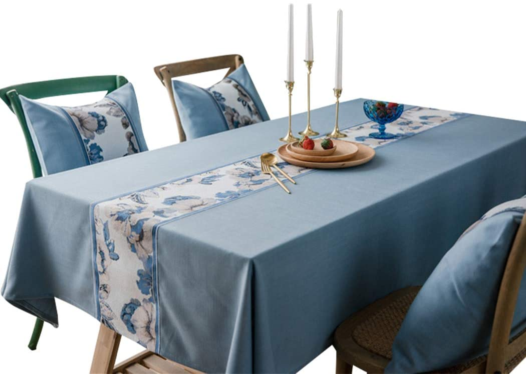 Old DIrd Washable Cotton Linen Rectangle Table Cloth,Stitching Tassel Design Tablecloth,Fabric Dust-Proof Table Cover for Kitchen Dinning Tabletop Decoration(Rectangle/Oblong, 53 x 79 Inch, Blue1)