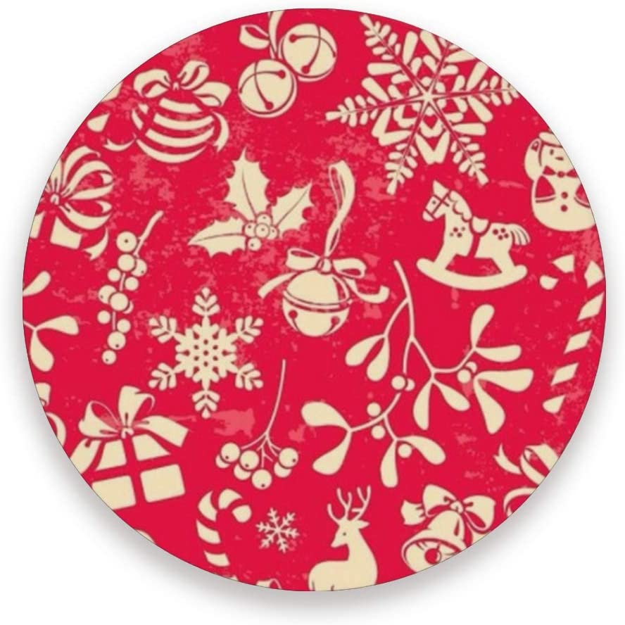 OREZI Christmas Elements Elk Snowman Bells And Snowflakes Red Coasters for Drinks,Set of 2,Coasters for Coffee Mugs Cups Beer Wine Bottle Cocktail Desk Prevent Furniture from Dirty and Scratched