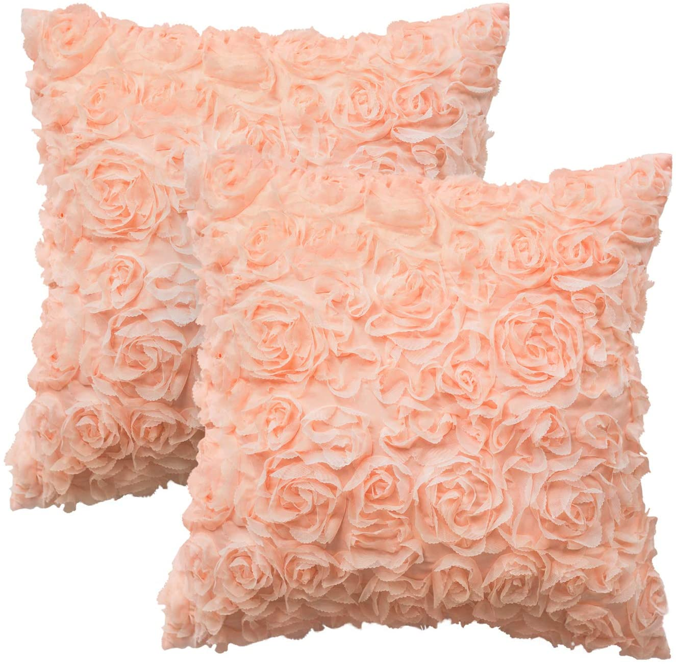 CaliTime Throw Pillow Cases Pack of 2 Solid 3D Stereo Chiffon Rose Flower Decorative Cushion Covers Shells for Couch Sofa Bedroom 16 X 16 Inches Pink
