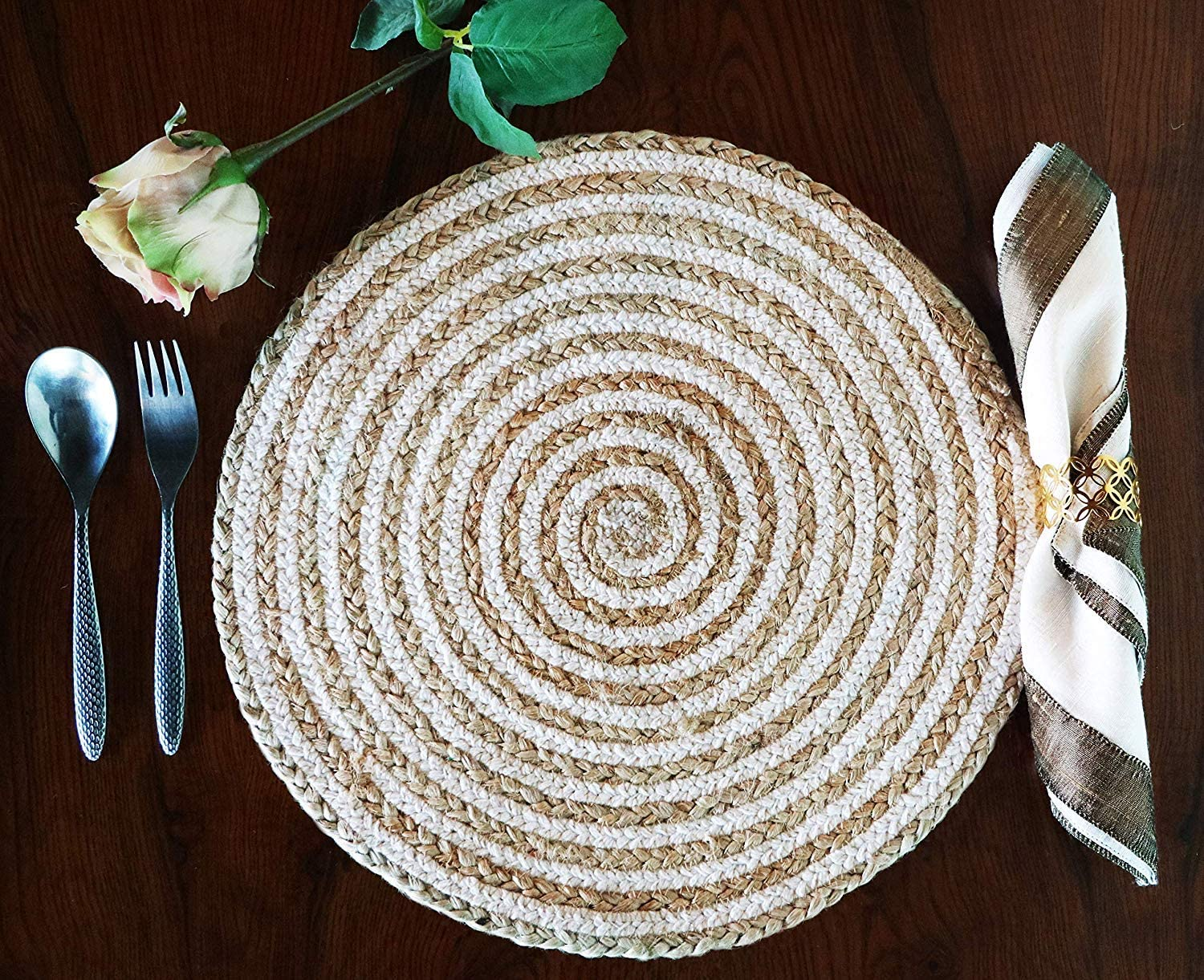 """The Home Talk Jute and Cotton Hand Braided Rustic Vintage Placemat for Parties Dining Table Holidays Use House Warming Gift (14"""" Round Diameter, White) Set of 4"""