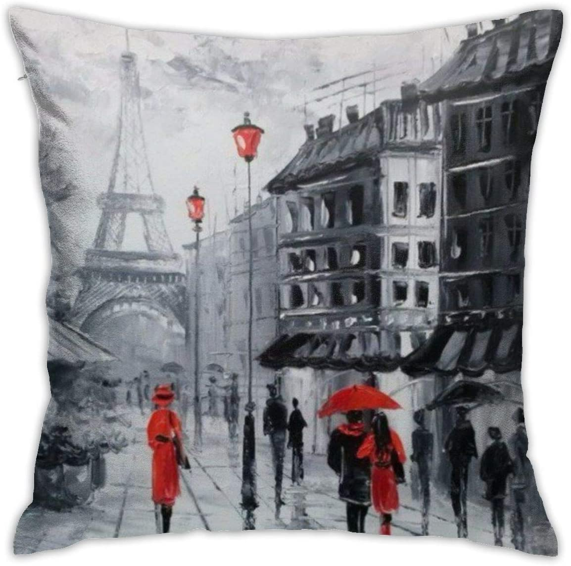 Antvinoler Paris Pillows Case Soft Throw Pillow Double-Sided Digital Printing Couch Pillowcase Square 45cm45cm