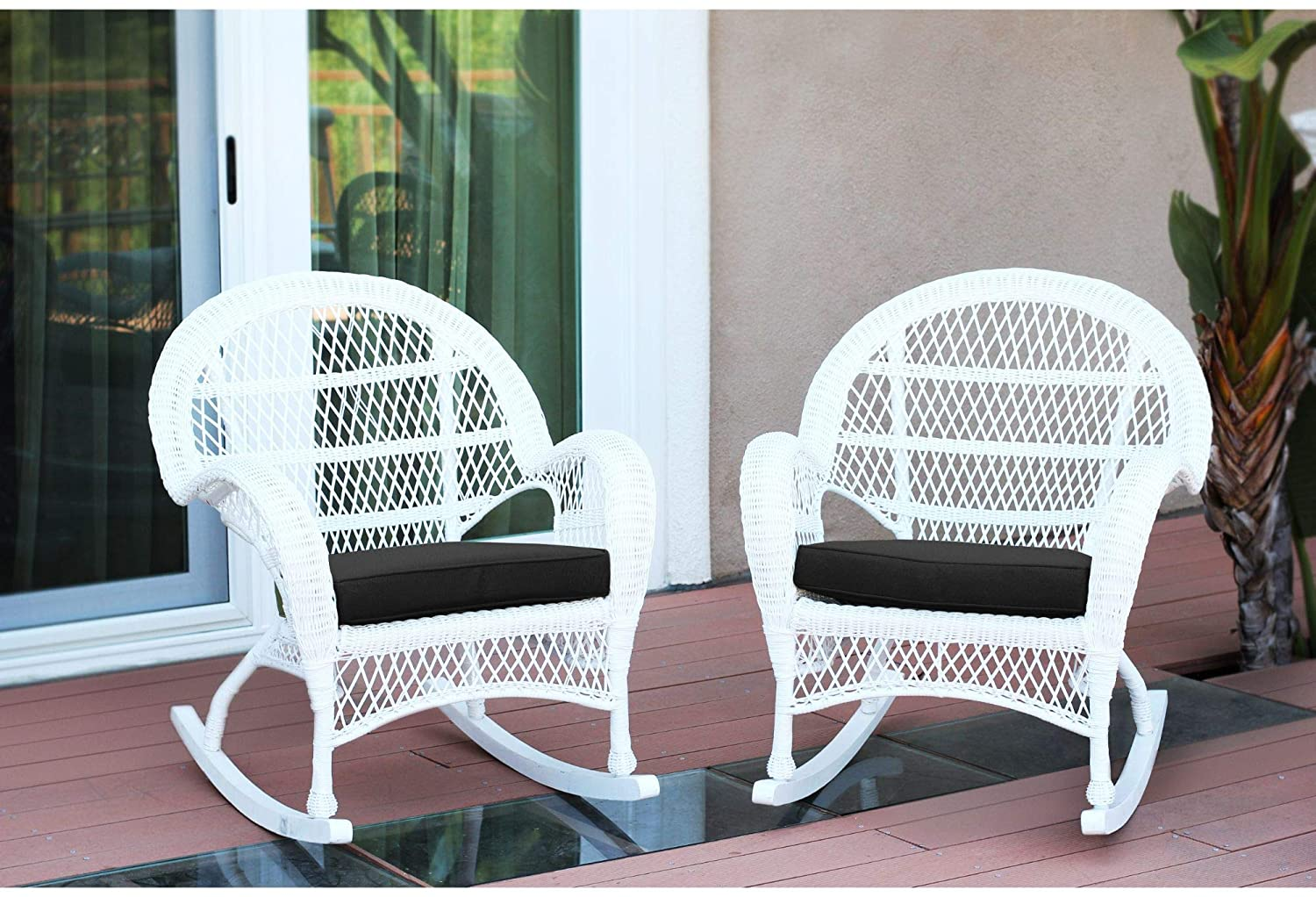 Set of 4 White Outdoor Furniture Patio Rocking Chairs - Black Cushions