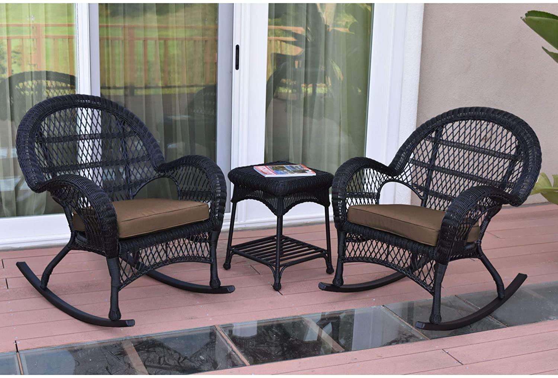 3-Piece Black Wicker Outdoor Furniture Patio Rocker Chair Set - Brown Cushions