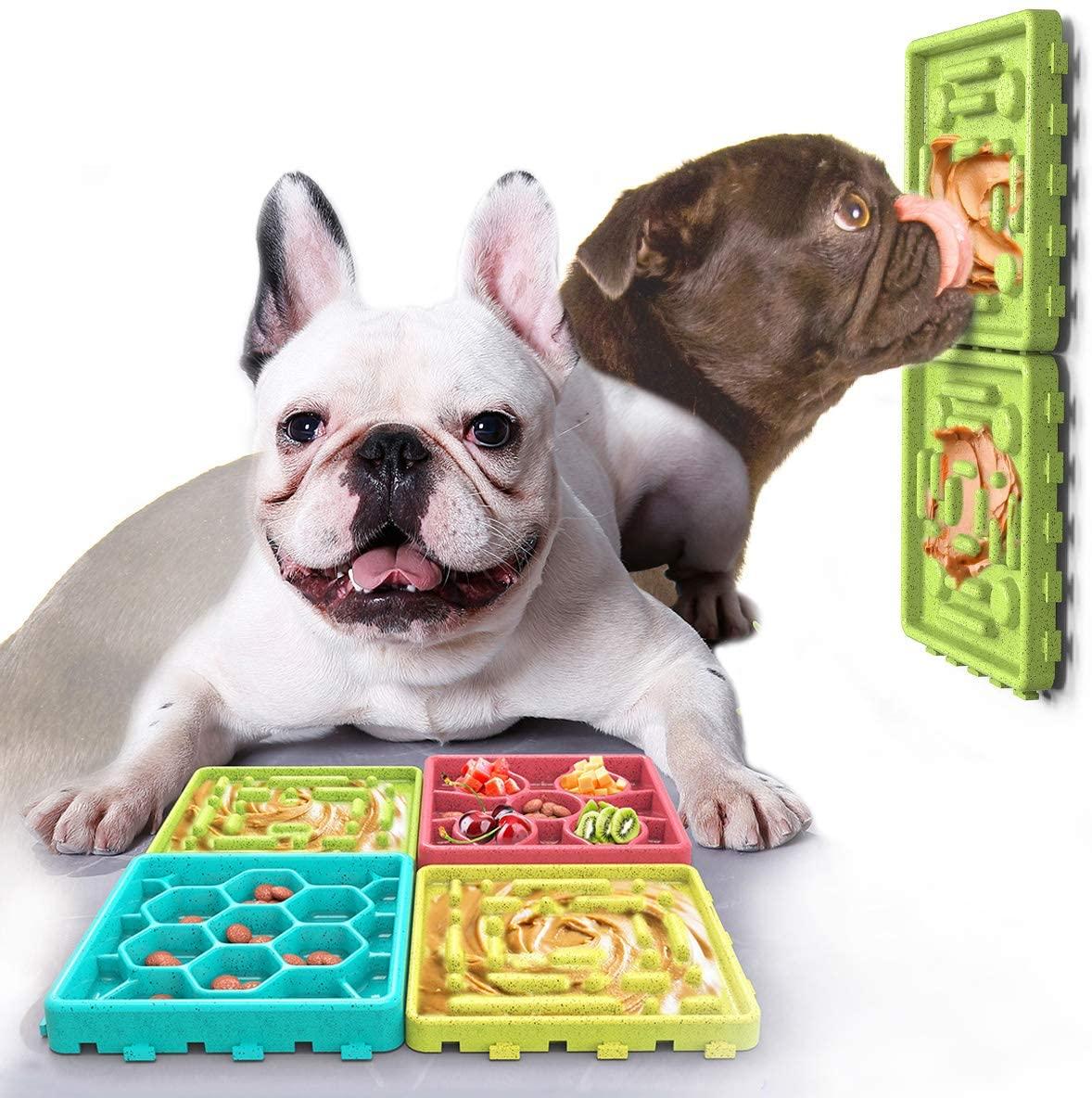 SH-RuiDu 4pcs Slow Feeder Dog Food Tray Pet Lick Pad Non-Slip Bottom Slow Treat Dispensing Mat Colorful
