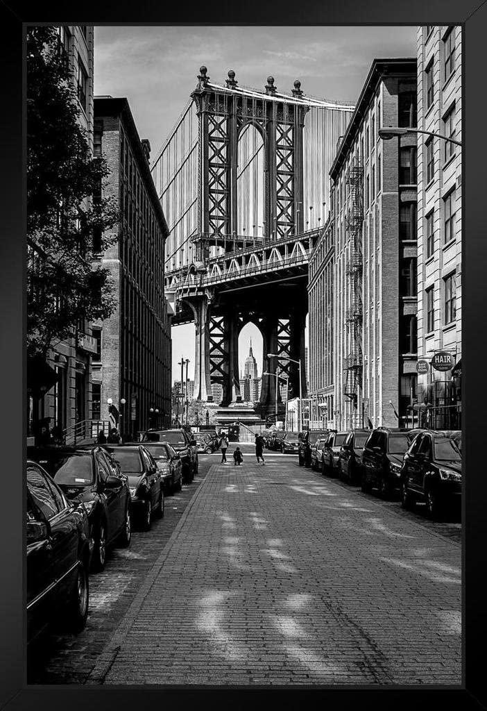 The Manhattan Bridge from Dumbo Brooklyn Black and White B&W Photo Black Wood Framed Art Poster 14x20