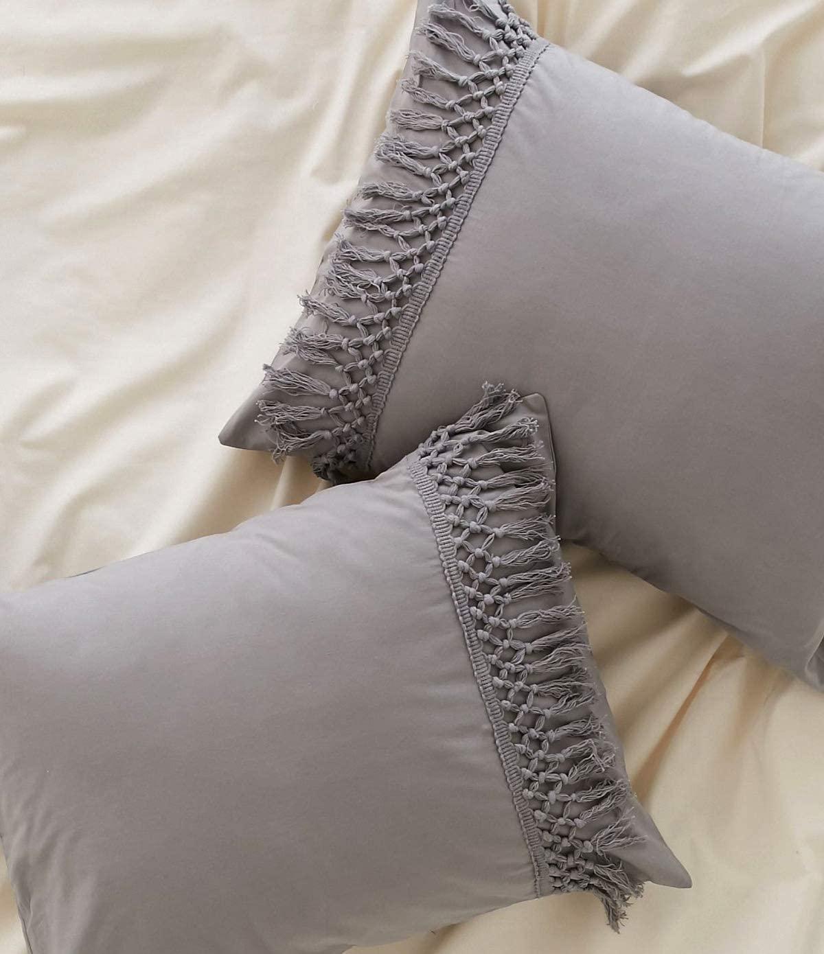 Flber Gray Tassel Sham Boho Pillowcases Cotton Pillow Covers,Set of 2,18.9in x29.1in (Gray Queen)