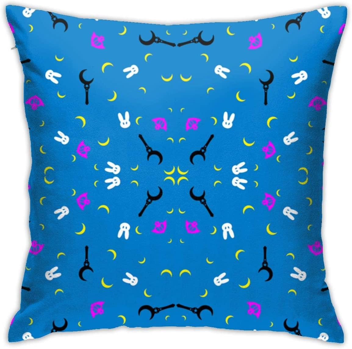 antkondnm Sailor Moon Square Pillowcase for Sofa Bed or Car Soft Throw Pillow Cover, Decorative Pillowslip