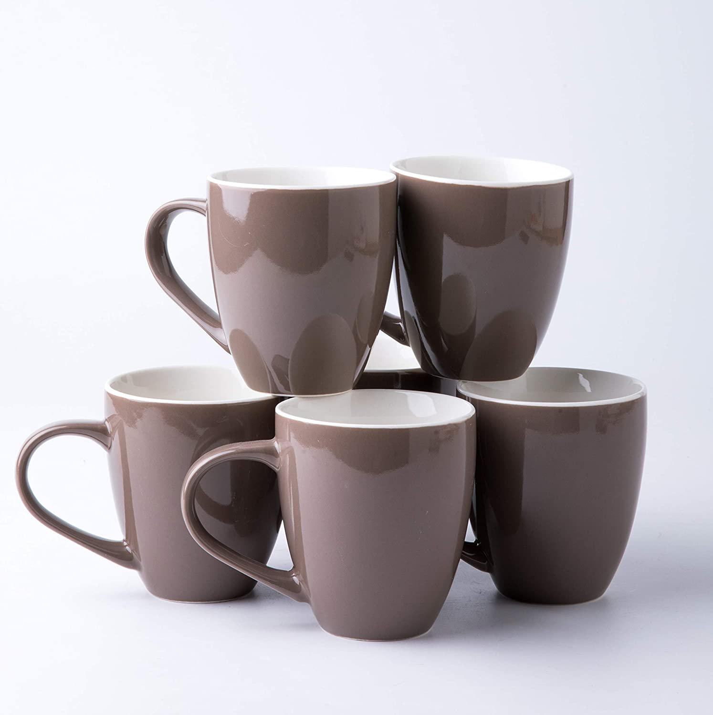 Amuse- Professional Porcelain Bistro Collection Lungo Mugs- Set of 6-17 oz (Dark Gray)