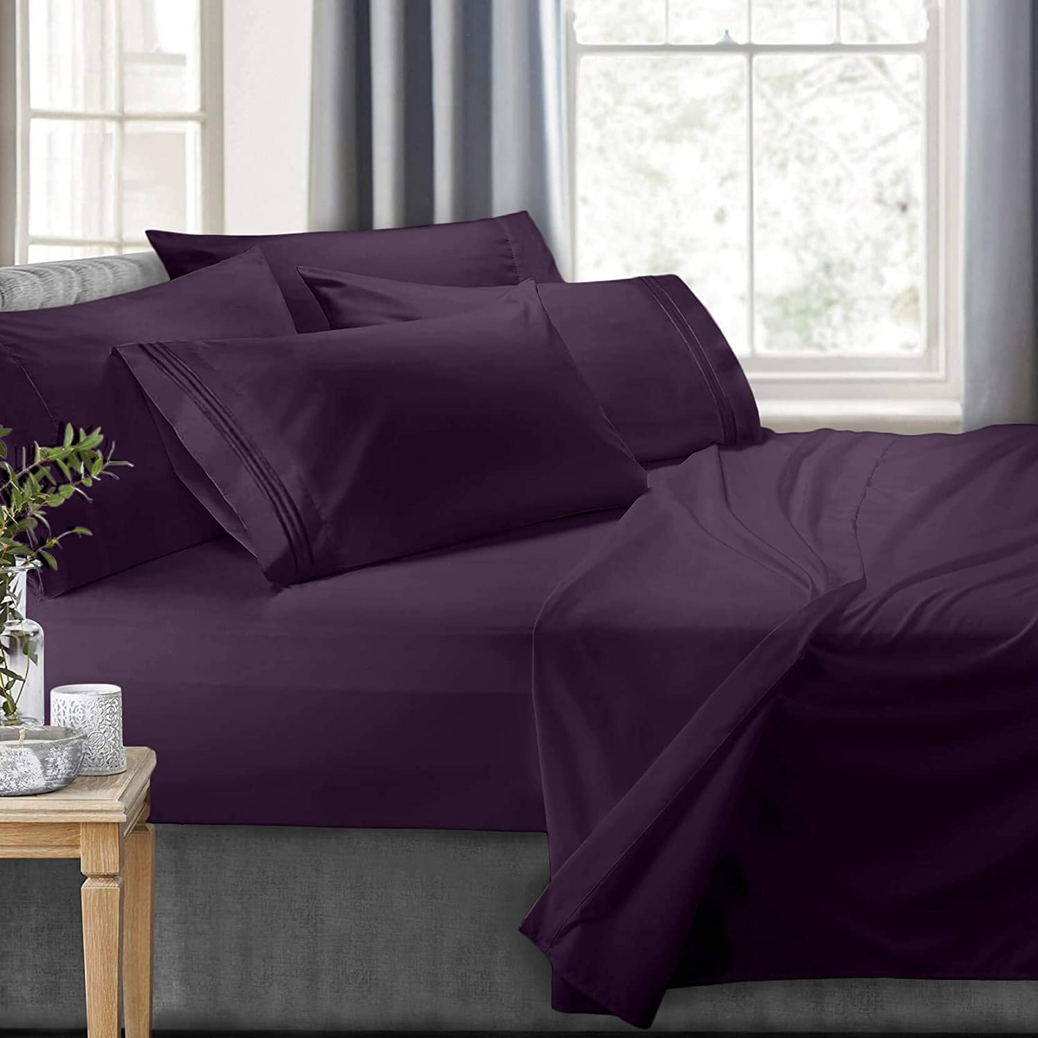 Clara Clark RV/Short Queen 6-Piece Bed Set for Campers-Deep Pocket Fitted Sheet Luxury Soft Microfiber, Hypoallergenic, Eggplant