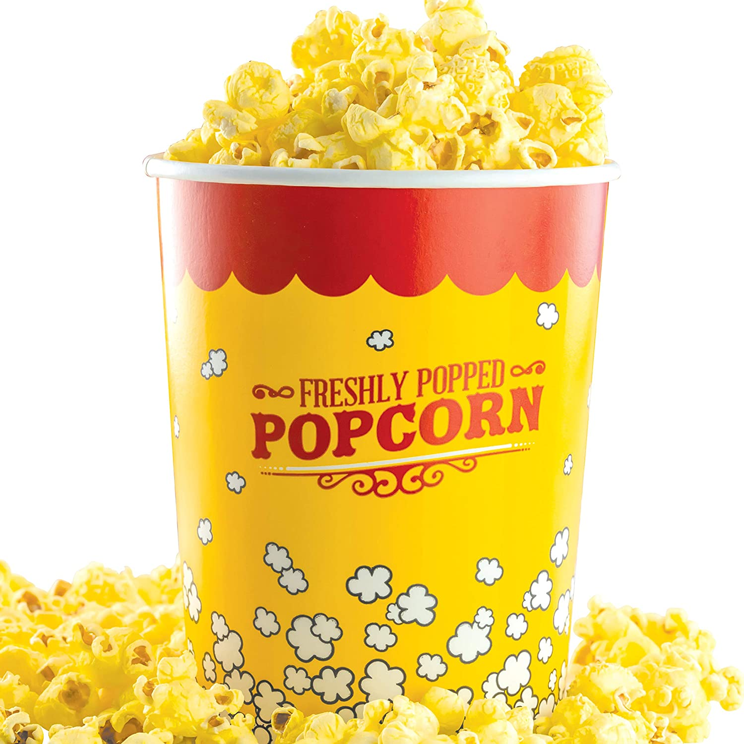 Leakproof, Super Durable 32oz Popcorn Buckets 5 Pack. Grease-Proof Disposable Pop Corn Tubs With Cool Design Are the Ultimate Movie Theater Accessory. Large Containers Great for Any Party or Event