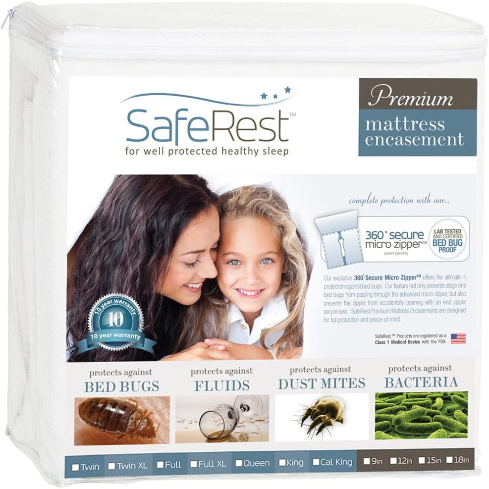 SafeRest Premium Zippered Mattress Encasement - Lab Tested Bed Bug Proof, Dust Mite and Waterproof - Hypoallergenic, Breathable, Noiseless and Vinyl Free (Fits 15-18 in. H) - King Size