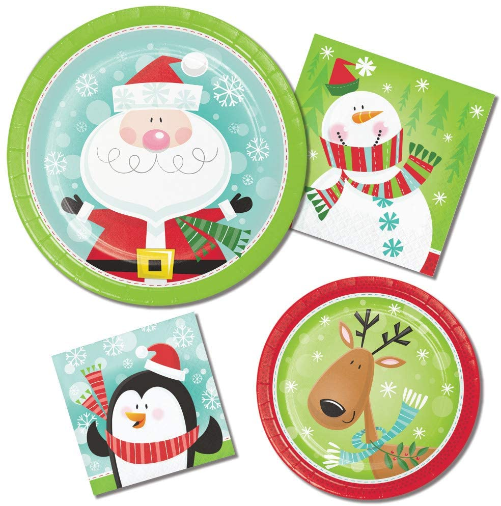 Christmas Paper Plates and Napkins - Characters of Christmas Theme Featuring Penguins Snowman Reindeer and Santa - 64 Total Pieces!