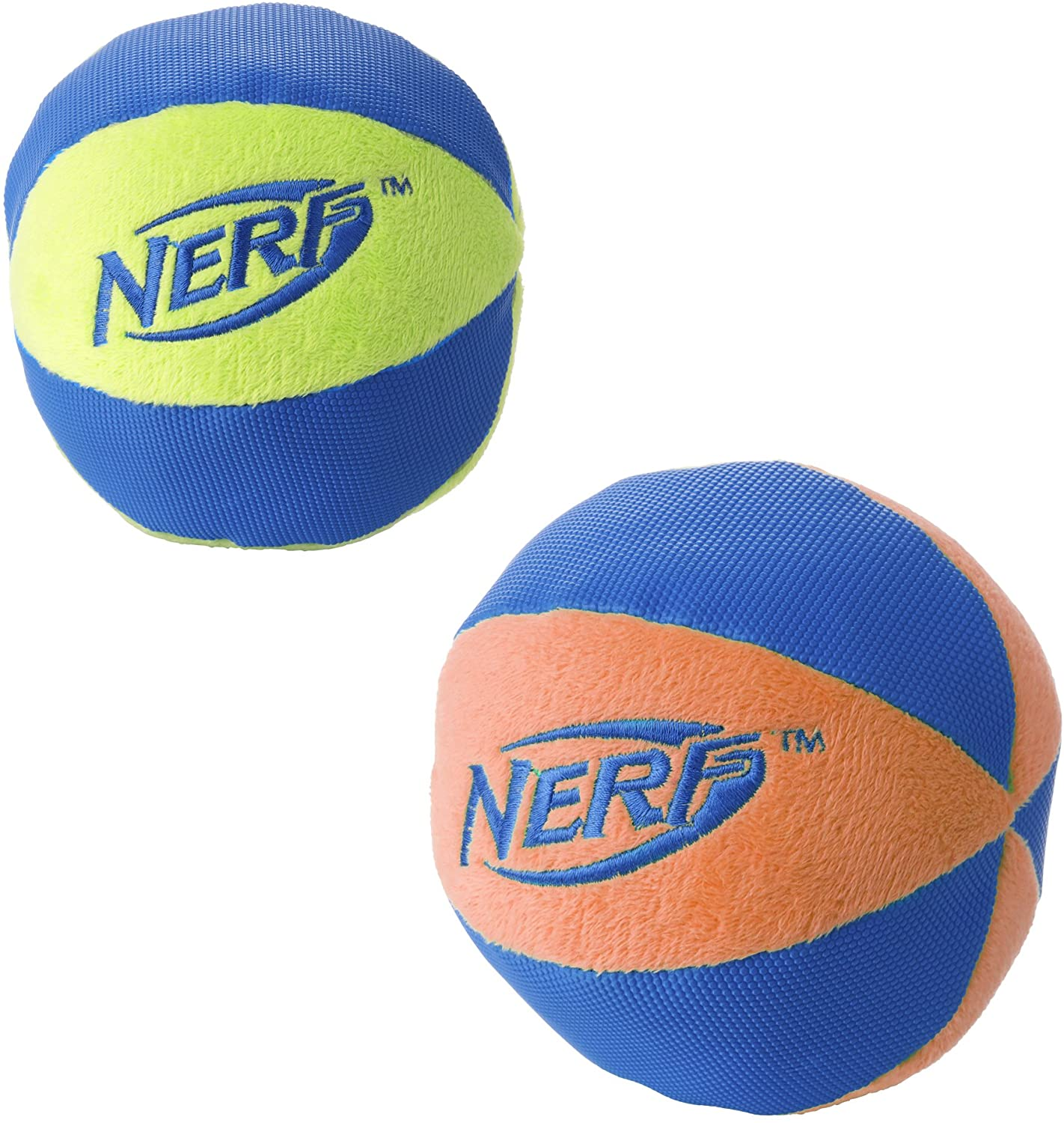 Nerf Dog Chewable Ball Dog Toy with Interactive X-Ring Design, Lightweight, Durable and Water Resistant, 6.5 Inch Diameter For Medium/Large Breeds, Two Pack, Orange/Blue & Green/Blue