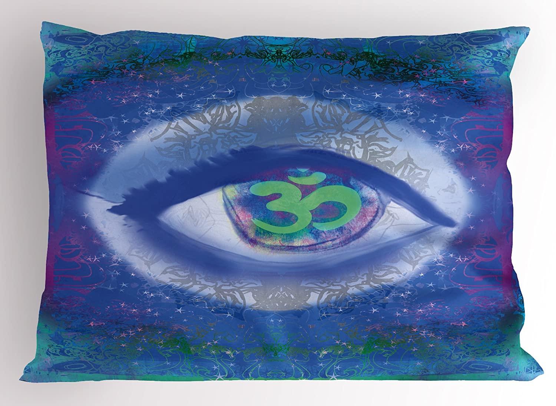 Ambesonne Eye Pillow Sham, Mystical Sign Third Eye Mandala Motifs Wisdom Yoga Chakra Enlightenment, Decorative Standard Size Printed Pillowcase, 26