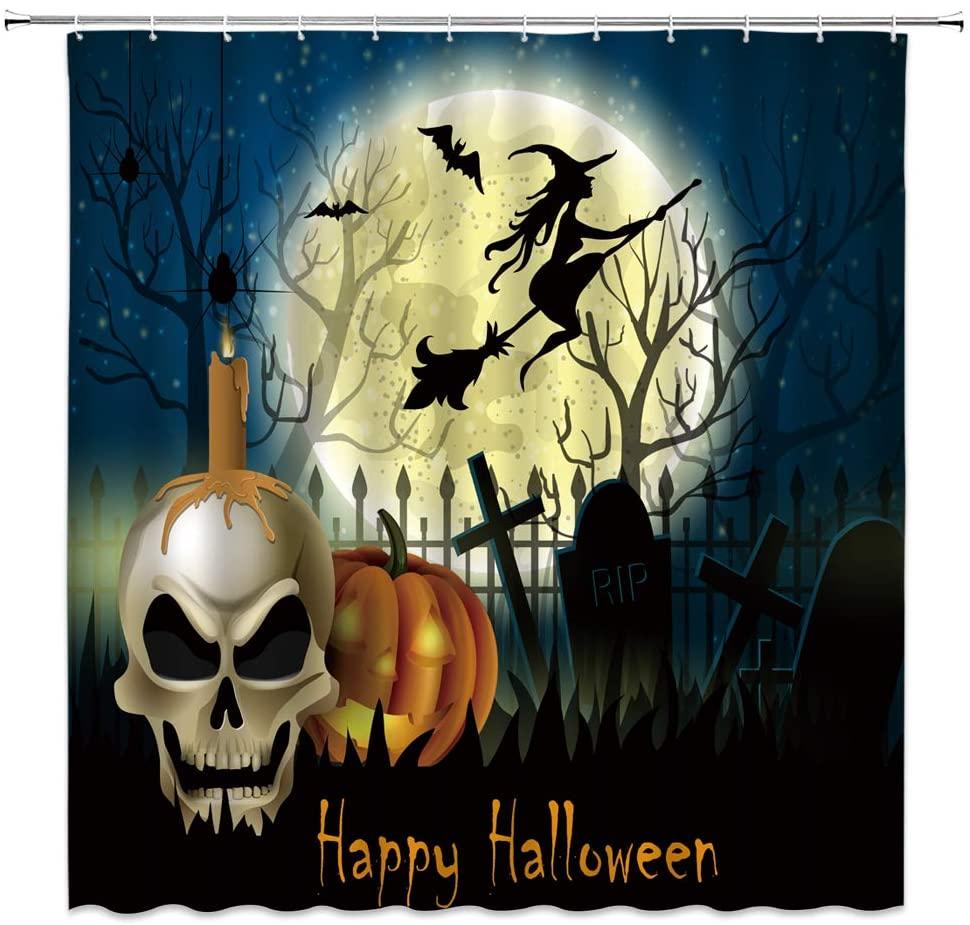 Halloween Shower Curtain Horror Sugar Skull Head Pumpkin Ghost Full Moon Witch Spooky Dead Tree Cross Tombstone Gothic Fabric Bathroom Decor Sets with 12 Hooks,71X71 Inchs