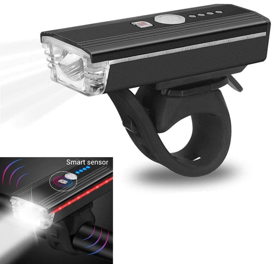 zuoshini Bike Headlights Rechargeable Bicycle Lights Waterproof Front Headlight Bicycle Headlight with Horn Automatic Intelligent Sensor Light 300LM 4 Lighting Mode
