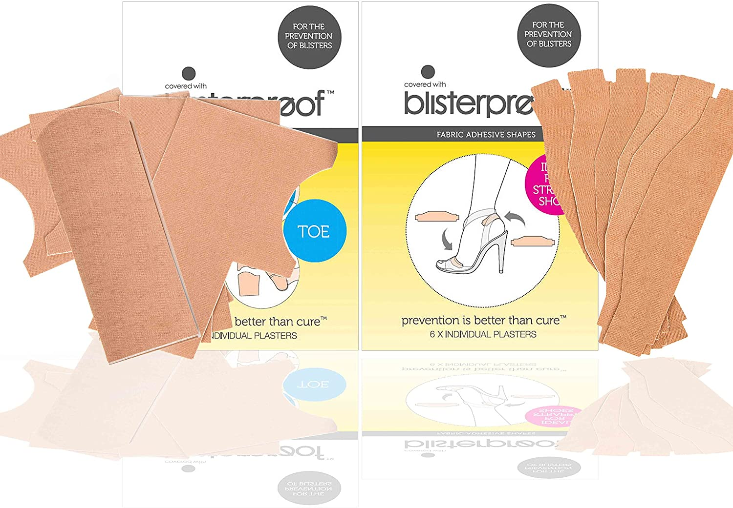 Blisterproof Ladies Blister Prevention Kits 1 Strap/High Heels and 1 Toe Pack, 14 Pieces