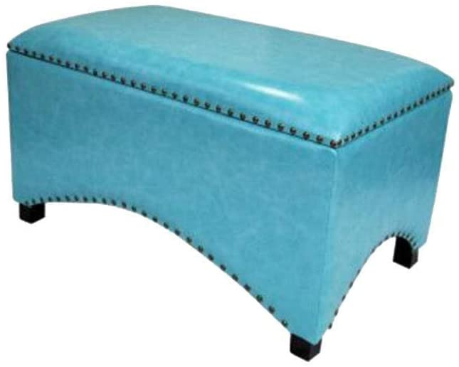 Storage Ottoman PU Leather Footstool Storage Box Solid Wood Legs Rivet Decoration Sofa Stool HENGXIAO (Color : #17)