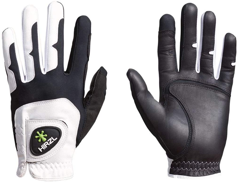 HIRZL GRIPPP FIT Golf Gloves – All Weather Mens Golf Glove (White/Black) | Kangaroo Leather & Lycra | Ultimate Grip in Wet or Dry Conditions | Breathable, Stretch Fit, Sweat Absorbent, Water Repellent