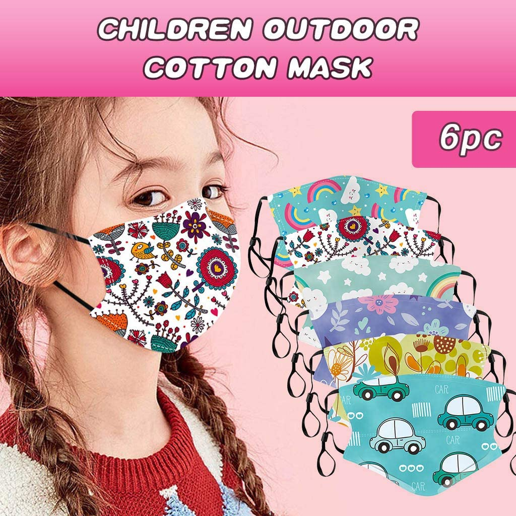 WOSLAFENS 【US Stock】 Children Face Bandanas, Reusable and Washable, Dustproof Windproof PM2.5 Bandanas with Filter, for Shopping, Cycling, Camping, Running
