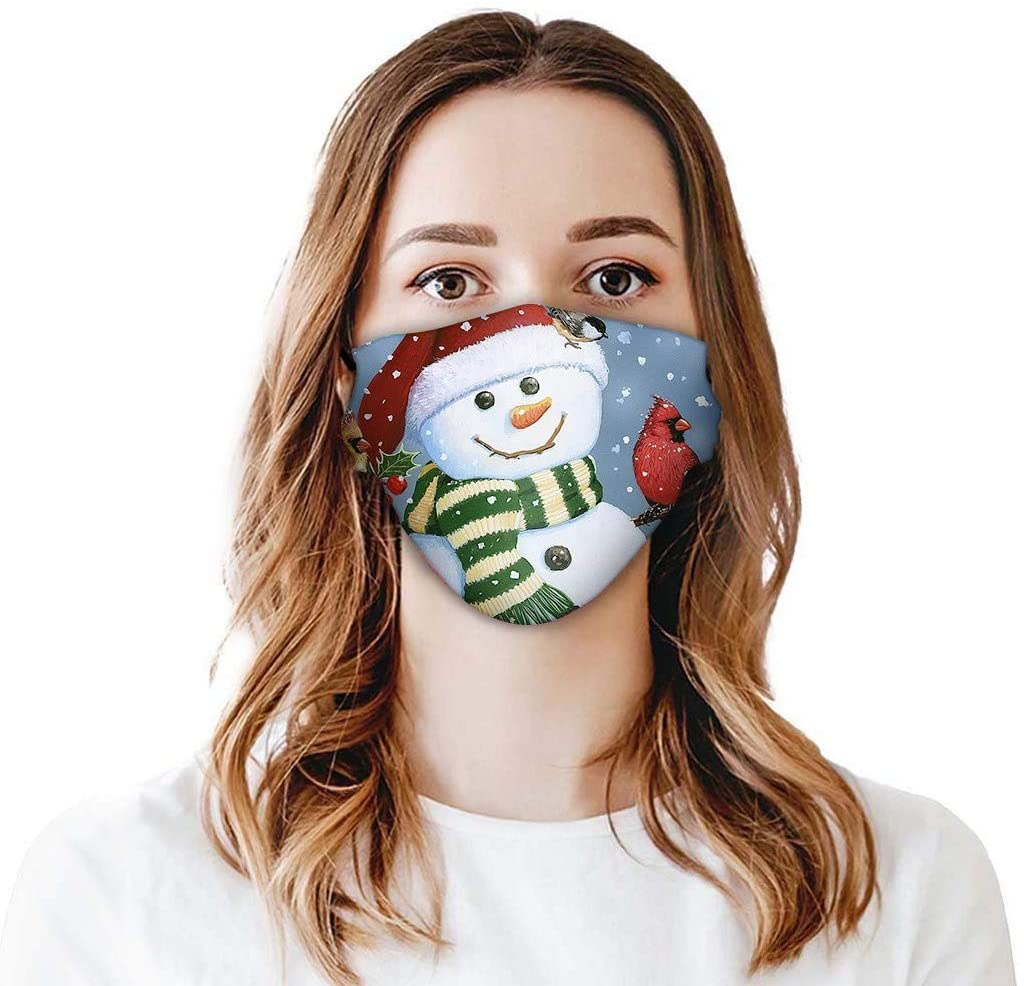 Cardigo Merry Christmas Cute Printed Adults Mens Womens Reusable Breathable Washable Cloth Mouth Earloop Face_Mask 1PC