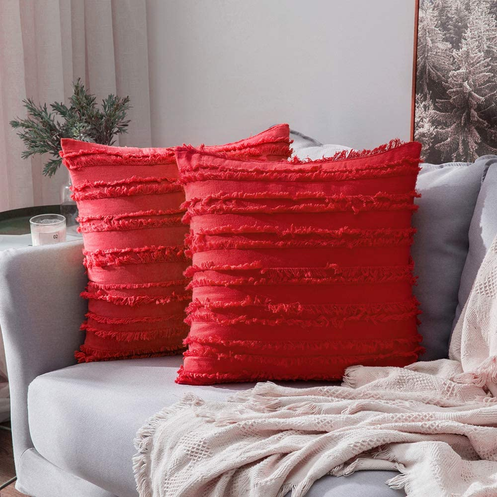 MIULEE Set of 2 Decorative Boho Throw Pillow Covers Cotton Linen Striped Jacquard Pattern Cushion Covers for Sofa Couch Living Room Bedroom 18x18 Inch Red