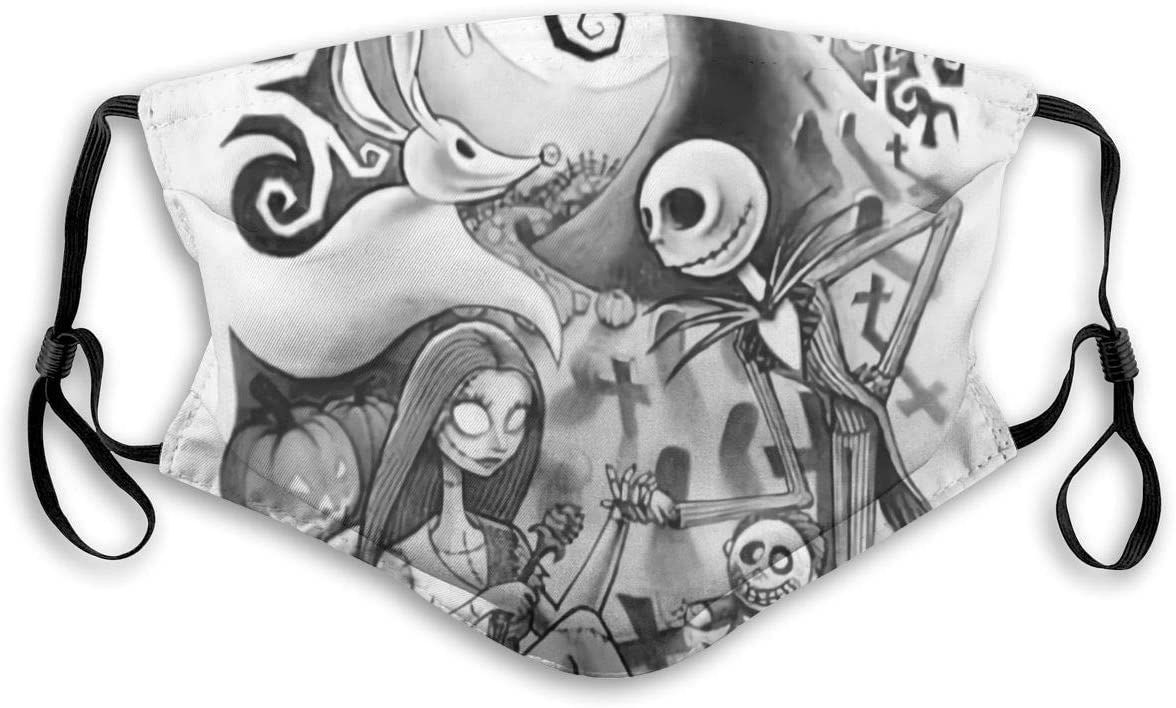 880 Face Covering, Adjustable Jack and Sally'S Nightmare Before Christmas Unisex Cotton Mouth Cover, Reusable Washable Anti-Dust Fabric Protective