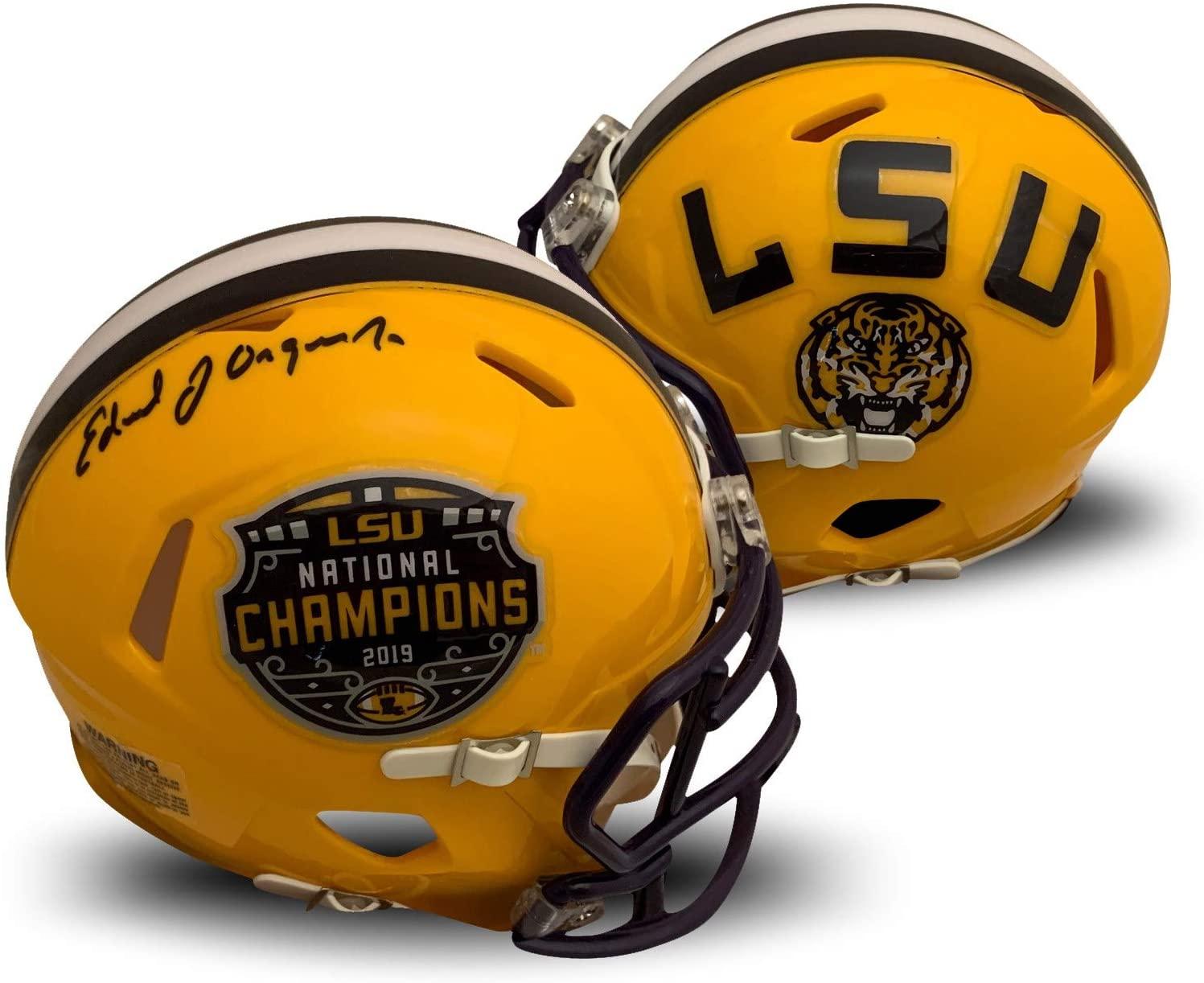 Ed Orgeron Autographed LSU Tigers 2019 National Championship Signed Football Mini Helmet Fanatics Authentic COA