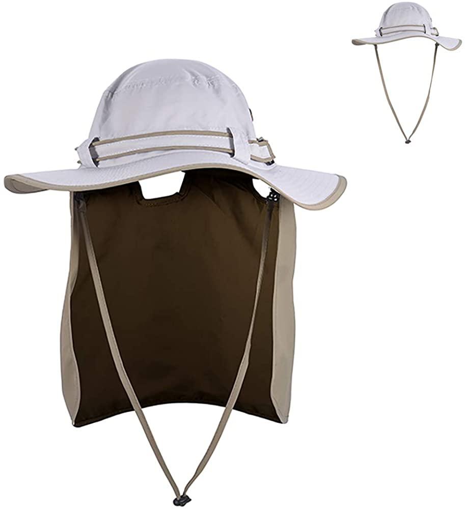 Sun Hat for Men Women Summer Outdoor UV Sun Protection Hat Wide Brim Bucket Hat with Neck Flap