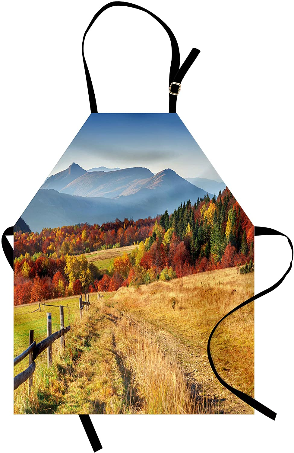 Lunarable Country Apron, Woodsy Countryside Fences Farm Sunny Warm Fall Weather Calming View, Unisex Kitchen Bib Apron with Adjustable Neck for Cooking Baking Gardening, Earth Yellow Blue Green