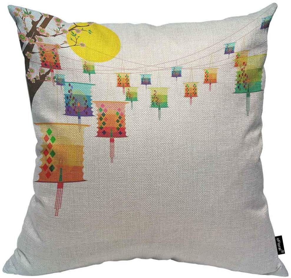 oFloral Fairy-Lights Throw Pillow Cushion Cover Big Colorful Lanterns Will Bring Good Luck and Peace Decorative Square Accent Pillow Case 20x20 inch
