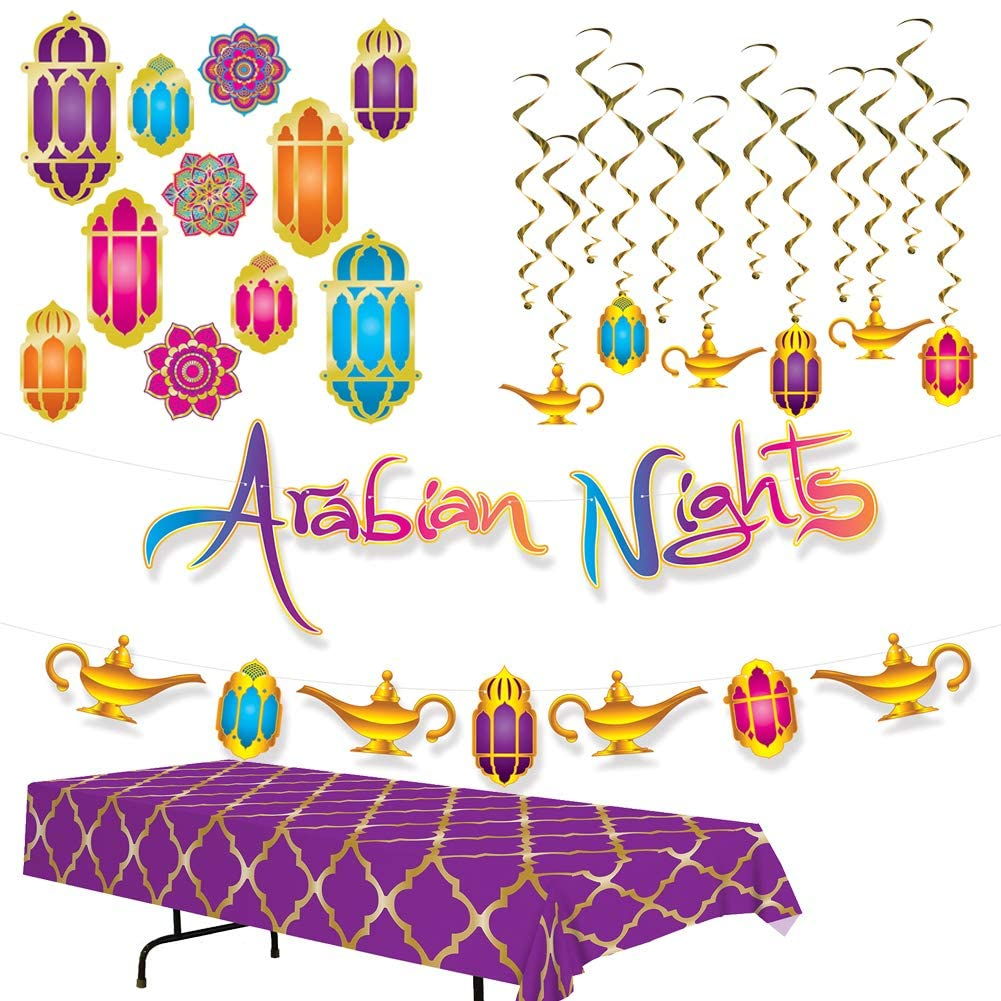 Arabian Nights Decorations Kit Set Magical Moroccan Inspired Theme Party Decor Supplies - Includes Table Cover, Hanging Swirly Whirls, Streamer Set and Mandala Cutouts