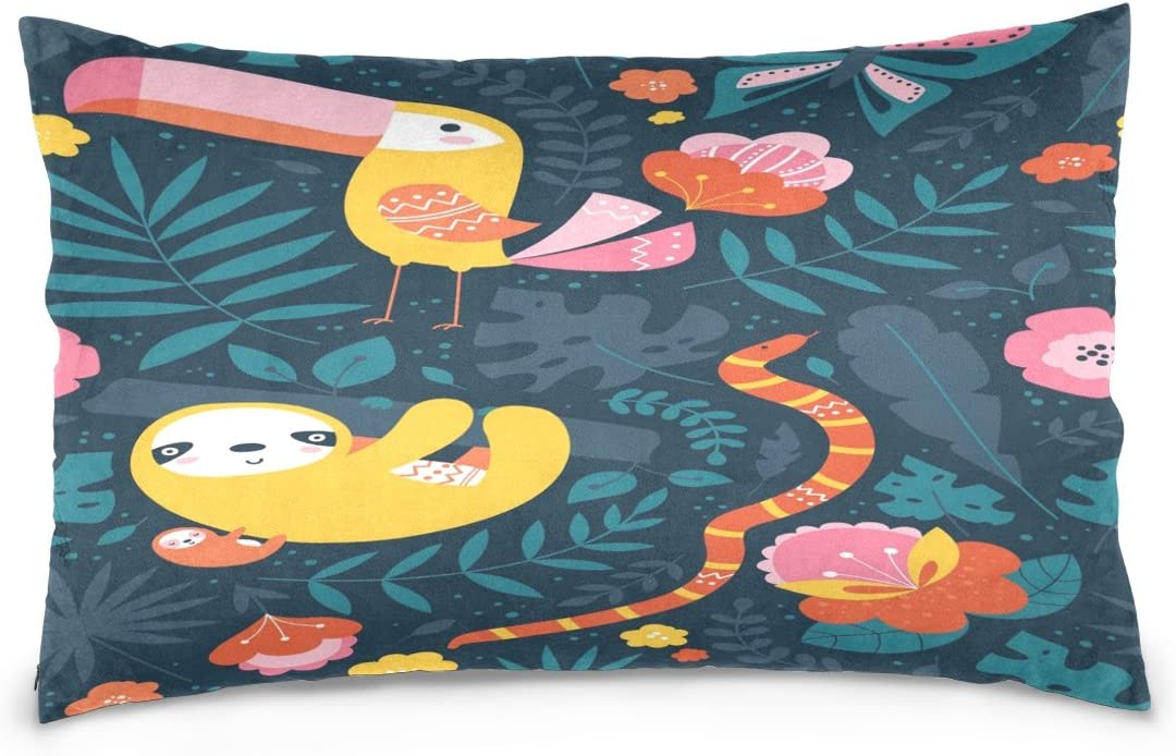 ALAZA Tropical Cute Animal Toucan Sloth Snake Butterfly Cotton Lint Pillow Case,Throw Pillow Case Protector Cushion Cover with Zipper Pillowcase Size 20