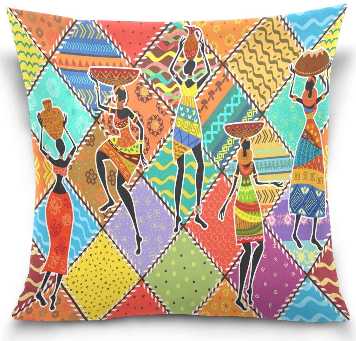 Kaariok African Black Women Colorful Plaids Throw Pillow Cases, Square Decorative Pillowcase Cushion Cover 16