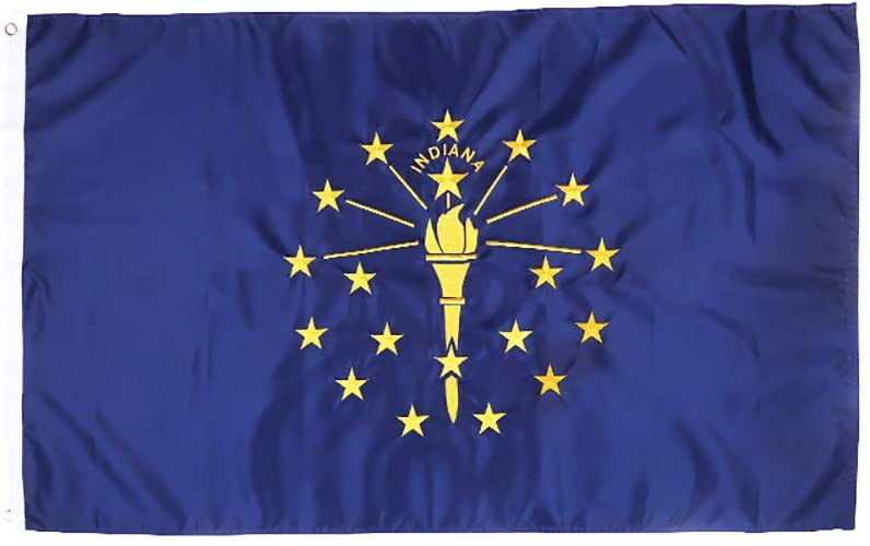ATHX Indiana Flag 3x5ft. with Double Sided Embroidered UV Protected, Long Lasting Nylon US in Flag