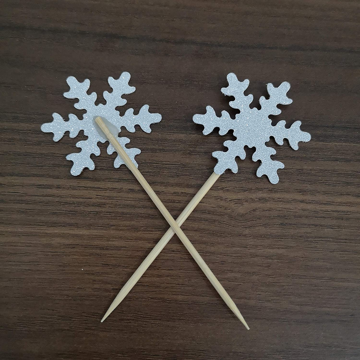 20pcs Sliver Glitter Snowflake Cupcake Toppers Christmas Themed Decorsations Frozen Party Supplies