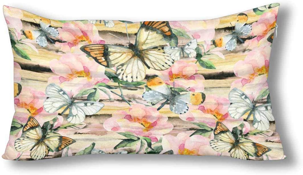INTERESTPRINT Watercolor Briar Flowers and Butterfly on Golden Striped Decor Pillowcase Pillow Case Protector with Zipper Decorative Pillow Case Cover, King Size 20x36 Inch