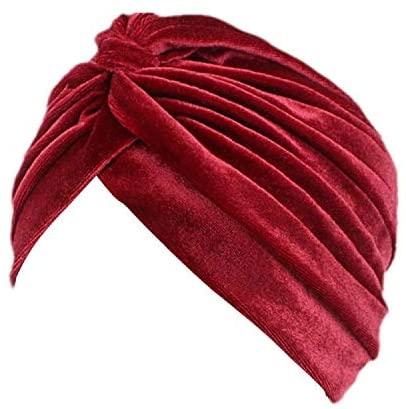 beauty YFJH Pleated Stretch Ruffle Women's Velvet Chemo Turban Hat Wrap Cover