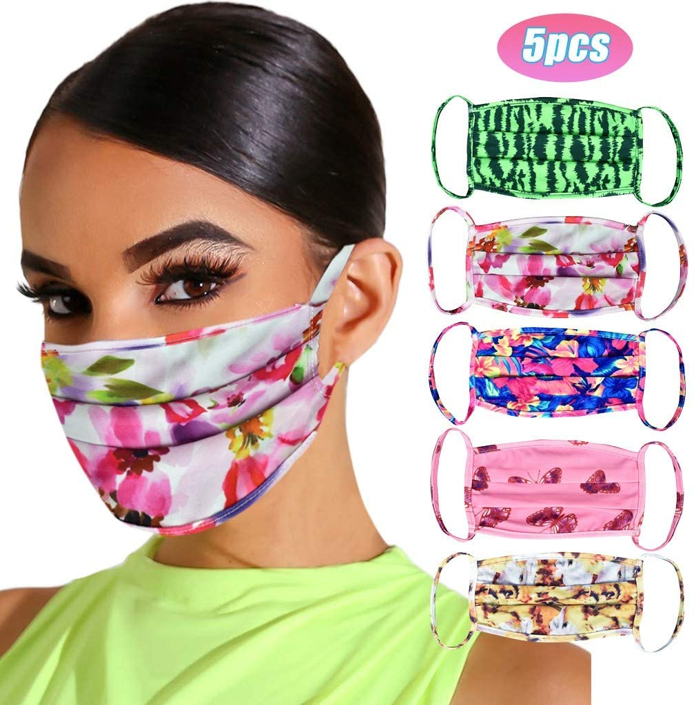 5pcs Stylish Adults Colorful Face Protective Face Bandana Reusable, Ecstasi Washable Cotton Dust Guard for Men Women Outdoor, Breathable