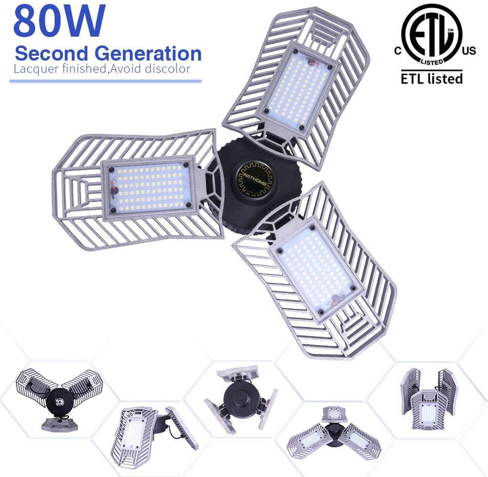Garage Lights,LED 80W Garage lighting/E26 Daylight 8000lm/adjustable 3 Leaf Garage Ceiling Lights,Indoor use for Shop Lights,Workshop Light,Garage Work Lights(80W-No Sensor)