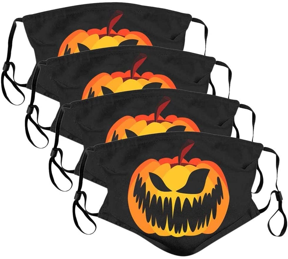 4Pcs Unisex Funny Scary Halloween Print Face Bandans Warm Windproof Shield
