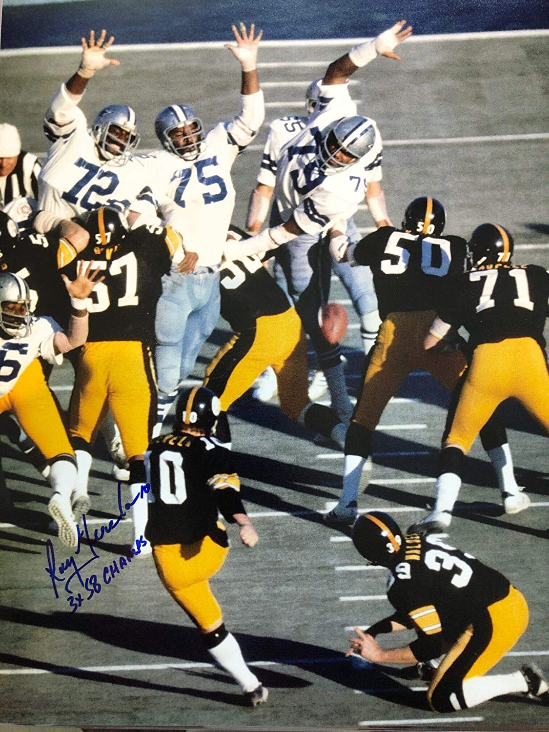 Autographed Roy Gerela Pittsburgh Steelers Football 11x14 Photo with COA - Autographed NFL Photos
