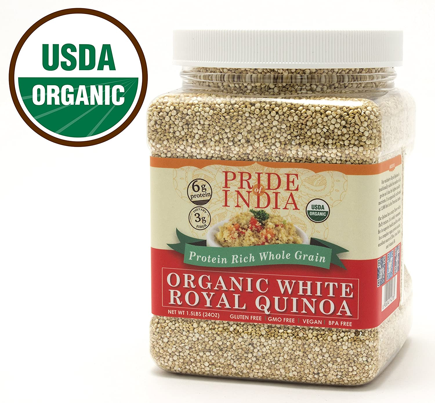 Pride Of India - Organic White Royal Quinoa - 100% Bolivian Superior Grade Protein Rich Whole Grain, 1.5 Pound Jar
