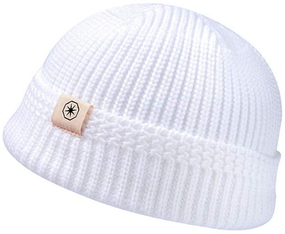Clape Swag Short Fisherman Beanie for Men Women, Rolled Cuff Harbour Hat Wool Knit Cuff Winter Warm Ski Skull Hat Cap